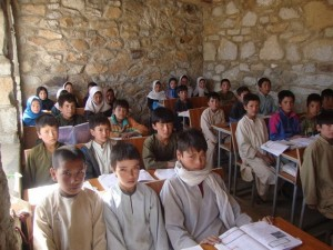 School children from Kushkak, Borjegai ready to learn in their new classroom © Salman Jan