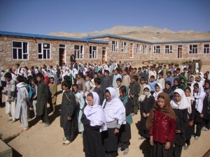 Children of Kushkak, Borjegai line up for school assembly in the quadrangle of their new school © Salman Jan