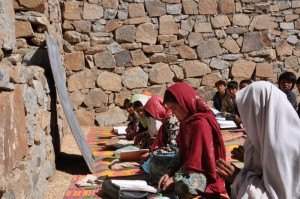 children learning in a semi-constructed school in Borjegai, Afghanistan &copy Salman Jan