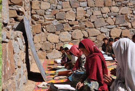 children-learning-in-a-semi-constructed-school-in-Borjegai,-Afghanistan-&copy-Salman-Jan