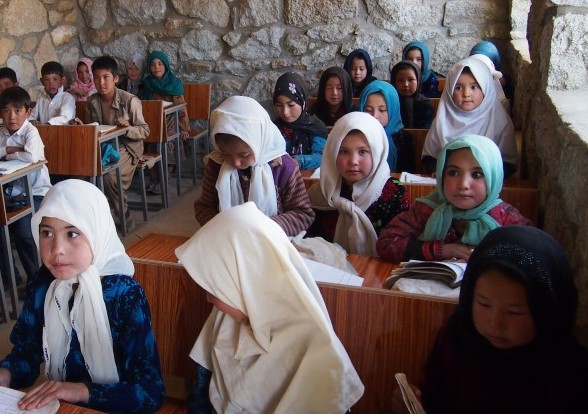 Students at school at Shebar School, where Masuma attends and where girls enrolment has increased in the past 12 months
