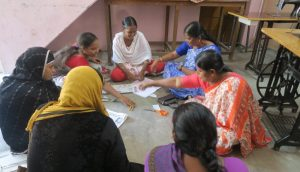 Mahalir Sakthi - A tailoring class in full swing
